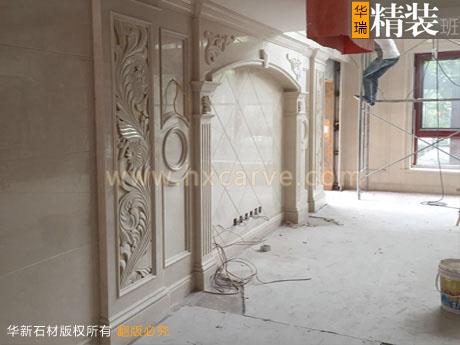 欧式石材沙发背景墙,雕刻石材玄关