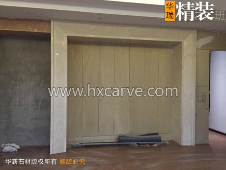 项目内容:大厅石材地面,石材背景形象墙,石材前台吧台,石材办公背景墙