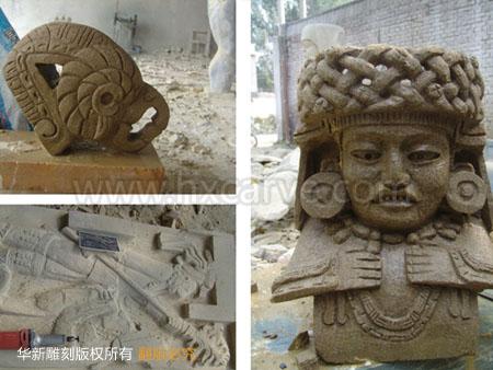 欧洲砂岩 项目内容: 玛雅文化人物雕塑,动物雕塑,抽象雕塑,石材底座